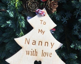 Nanny Gift Tag, Wooden Gift Tag, Christmas 2017, Rustic Christmas Tag, Traditional Christmas Tag, Christmas Wrapping, Festive Gift Tag