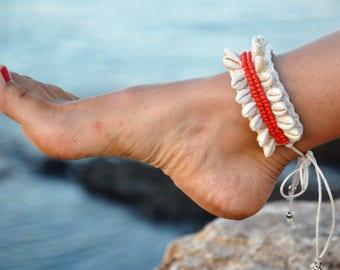 On sale Shell anklet, boho anklet, red and creamy colour,  boho anklet, hippie style, festival, boho girl, oceanic, summer, crochet,