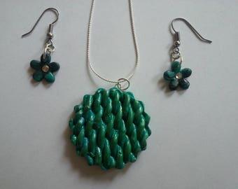 Green-Black Polymer Clay Jewelry
