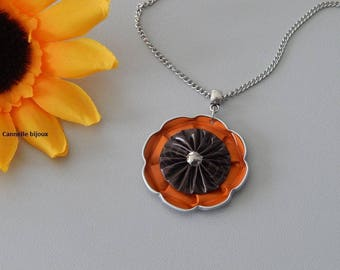 Necklace chain stainless steel with orange and dark brown nespresso capsule