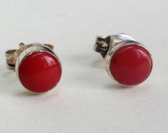 Sterling Silver Studs Coral Earrings Navajo Indian Native American Small Tiny