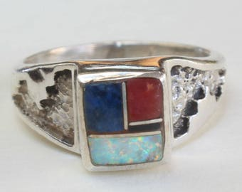 Sterling Silver Navajo Ring Lapis Coral Opal Onyx Native American Inlaid Ring