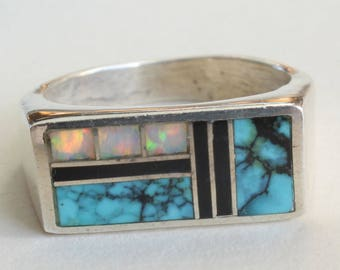 Sterling Silver Navajo Ring Turquoise Onyx Opal Native American Inlaid Ring Large Heavy