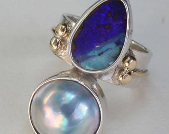 Opal Pearl Ring Sterling Silver 18k Gold Boulder Opal Two Toned