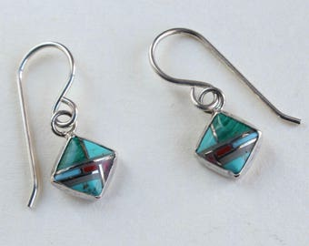 Inlaid Earrings Native American Sterling Silver Turquoise Coral Malachite Spiny Oyster