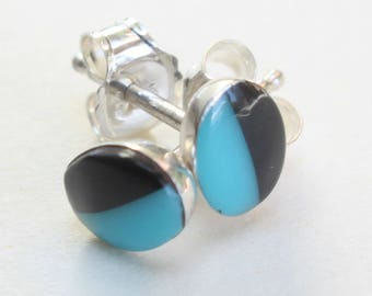 Sterling Silver Studs Turquoise and Onyx Earrings Zuni Indian Native American Small Tiny Oval Inlay Inlaid