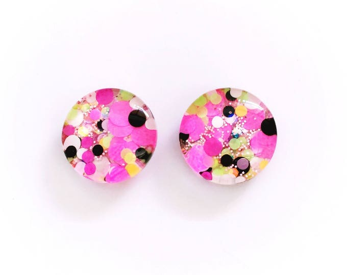 The 'Spice Girls' Glitter Glass Earring Studs