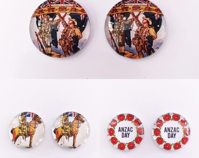 The 'Anzac' Glass Earring Studs