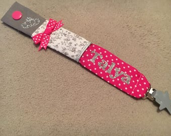 Pacifier clip personalized fuchsia and silver