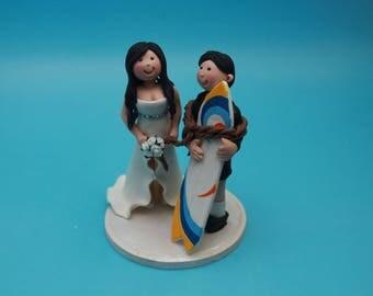 custom surfing wedding cake topper, boating, custom personalized surfing cake topper, Beach Wedding Cake Topper, Surfboard, surf Anniversary