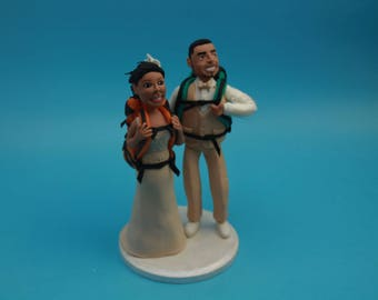 Bride & Groom Custom Hike Theme Wedding Cake Topper, Mr and Mrs camping,