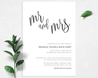 Printable Wedding Invitation/ RSVP/ Save the date/ Thankyou card/ PDF/ Download/ Mr & Mrs/ Script/ Custom/ Rochelle suite #050