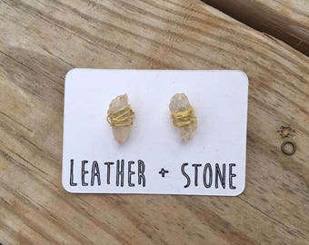 Wire Wrapped Quartz Earring Studs