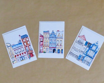 Greeting Card Set, value pack, European Houses, pack of 3, gift cards, blank cards, with envelope, printed on recycled paper,
