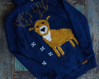 Reindeer Christmas Sweater, Xmas sweater, Deer Christmas sweater, Replica Cristmas Handknit Sweater, Custom Knit, Made to Order Knitting