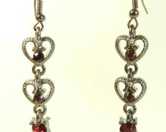 "Earrings ""Raspberry"", crochet black metal frame, made by hand"