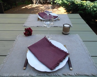 ALL natural linen washed and fringed napkins and table place mats