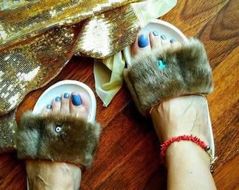 Slides, Summer sandals, Fluffy slides, Dark beige Faux fur slides, White slippers, Fashion slippers, Flat sandals, Boho decorated slides!