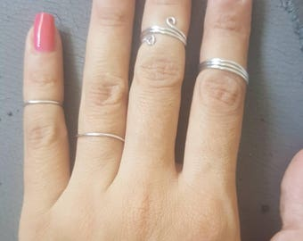 10% OFF HOLIDAY SALE, 4 silver Rings, rings set, boho rings, Stackable rings, dainty rings, silver ring set, silver boho rings, 4 rings.
