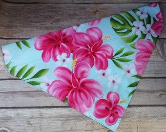 Hawaii Dog Bandana / Hawaiian Cat Bandana / Pink Flower Bandana / Floral Dog Scarf /  Summer Dog Bandana / Over the Collar / Fern Hibiscus