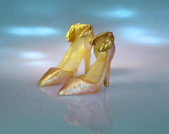 """Fashion Dollshoes for 12"""" Dolls - Pale Pink and Gold HighHeel Doll Shoes - Miniature High Heels for Silkstone & Fashion Royalty Dolls"""