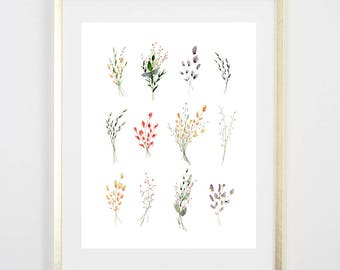 Spring Sprig Art Print / Watercolor / Gifts for her / Home Decor / Gift for mom / Botanical Decor/ Botanical Art / Girls Room / Original Art