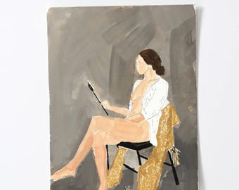 Painter Lady / Figure Painting / Original Watercolor / Gouache /  Naked Lady Art / Nude Drawing