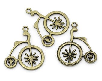 10 ps Antique Bronze Old Fashion Bicycle Charms 32x27mm