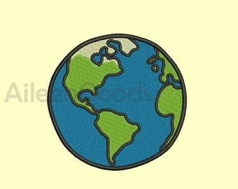 Earth Embroidery  design 7 Size  INSTANT download machine embroidery