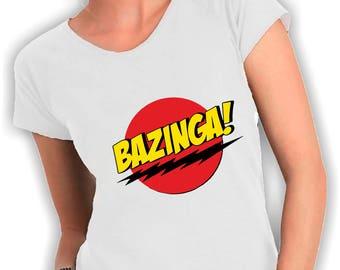 Women's V neck t shirt bazinga big bang theory
