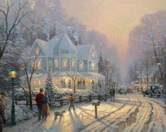 """Two Postcards ~  """"A Holiday Gathering"""" by Thomas Kinkade"""