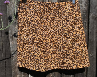 A Line Mini Skirt - pin corduroy/lightweight/animal print/mini/summer/winter/fully lined