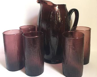 Amethyst Blown Glass Pitcher and Glass Set // Mid Century Glass Set // 1960's