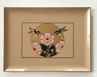 Otagiri Lacquered Decorative or Serving Tray // Taupe Lacquered Otagiri Bird Tray // 1980's // Made in Japan