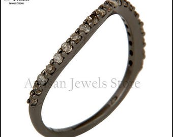 92.5 Sterling Silver Diamond Ring Wedding Engagement Ring Bands, Pave Diamond Jewelry