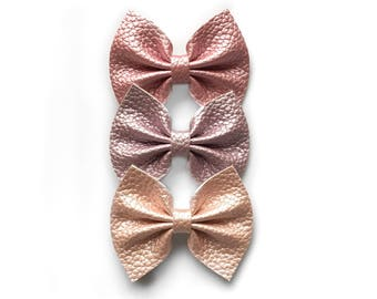 Vegan leather springtime bows / lilac pearl, rose gold, blush pearl, pink pearl