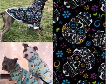 Sugar Skull Dog Sweater, Dog Sweatshirt, Dog Hoodie, Dog Shirt, Dog Clothes, Dog Clothing, Fun Dog Sweater, Fleece Dog Sweater