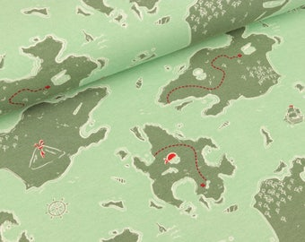 Cotton Jersey Treasure Island green on Mint by Sam (13.90 EUR/meter)
