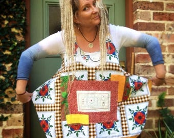 Country Bumpkin Upcycled Recycled Pullover Pinafore Embellished Onesize