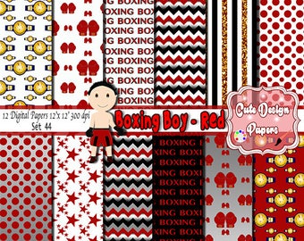 Boxing boy red digital papers 12 x 12, digital backgrounds boxing, boxing papers, boxing red boxing scrpabook boxing party boxing invitation