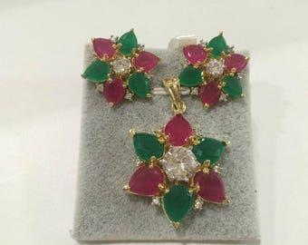 Indian Bollywood American Diamond AD Party Wear Jhumka jhumki Pendant Necklace Jewelry Set