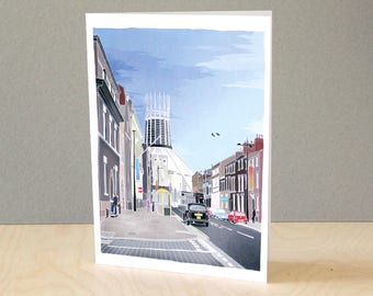 Hope Street - Illustrated Liverpool Greeting Card - A5 recycled card
