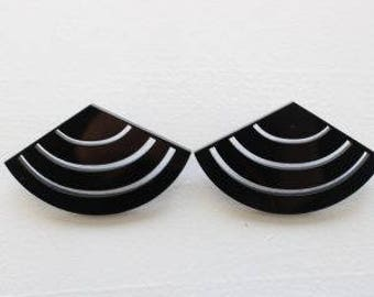 Fan Style Statement Earrings / Perspex Earrings / Bold Earrings / Fashion Earrings