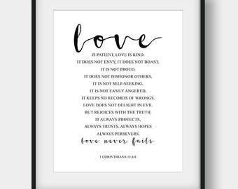 60% OFF Love Is Patient Love Is Kind, 1 Corinthians 13:4-8, Bible Verse Print, Wedding Decor, Wedding Gift, Printable Scripture, Bible Quote