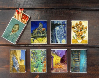 set of 8 MATCHBOX painting of vincent van gogh art paint printing old matches match holder