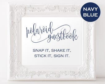 Polaroid Wedding Guestbook - Photo Guestbook Sign - Reception sign - Navy Wedding Sign - Downloadable wedding #WDH878PL85