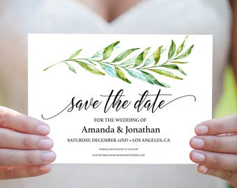 Save the Date Printable - Greenery Wedding - Save the Date Template - Wedding PDF - Downloadable wedding #WDH9809GR
