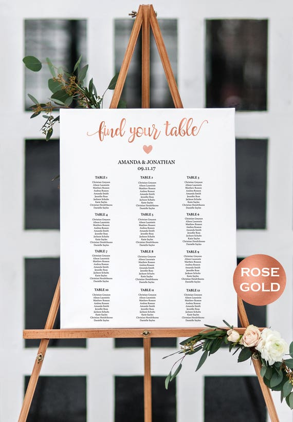 Wedding Seating Chart Alphabetical Instant Download