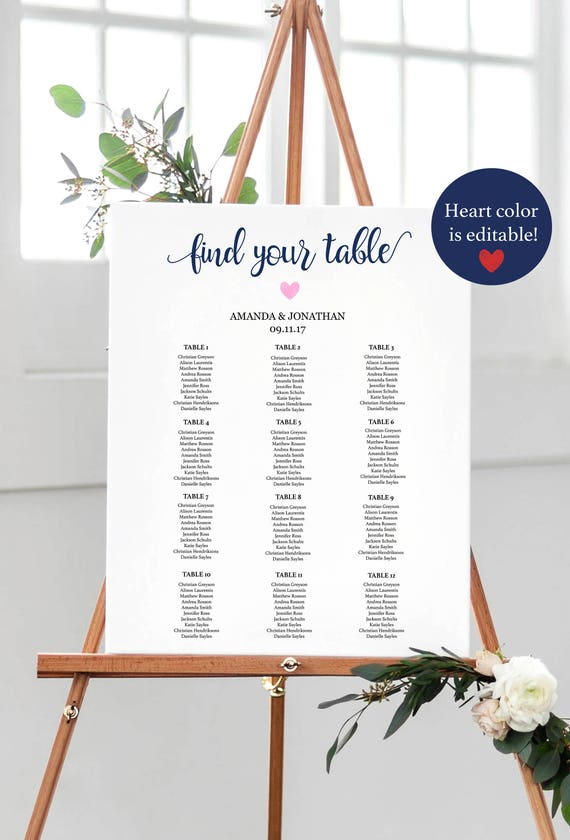 Navy Welcome Wedding Seating Chart Sign