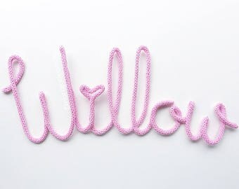 MADE TO ORDER- Crochet wire words letters business logo or shelf decor